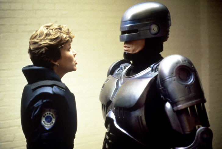 Nancy Allen and Peter Weller in <em>Robocop</em>